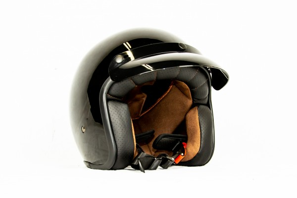 Jet-Helm Schwarz glänzend, (Innenseite Braun) - Größe S
